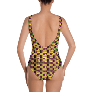 Yellow Purple Kente African Print One-Piece Swimsuit YaYa+Rule