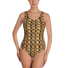 Load image into Gallery viewer, Yellow Purple Kente African Print One-Piece Swimsuit YaYa+Rule