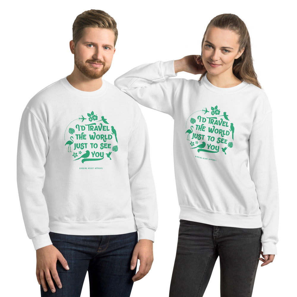 I'd Travel the World Unisex Sweatshirt (white)