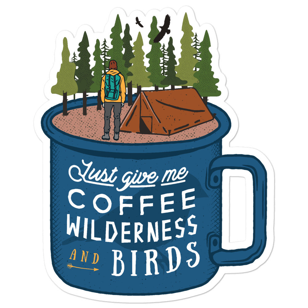 Coffee Wilderness and Birds Stickers