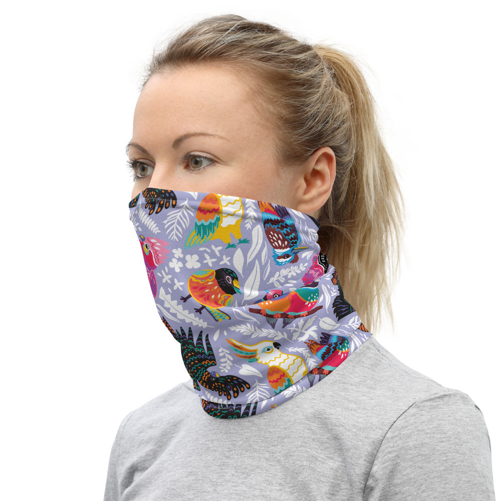 Happy Feathers Purple Neck Gaiter