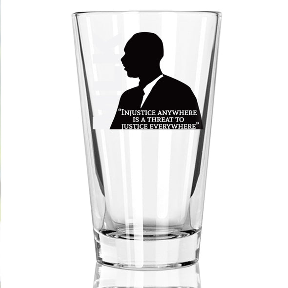 Injustice Anywhere Is a Threat to Justice Everywhere - MLK in Color - Pint Glass