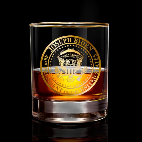 18KT Gold Commemorative Seal with Halo Rim Whiskey Glass - Collector's Edition