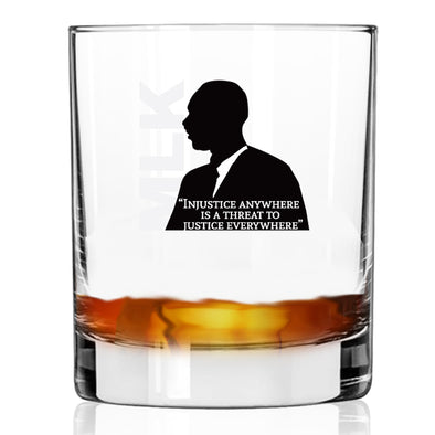 Injustice Anywhere Is a Threat to Justice Everywhere - MLK in Color - Whiskey Glass