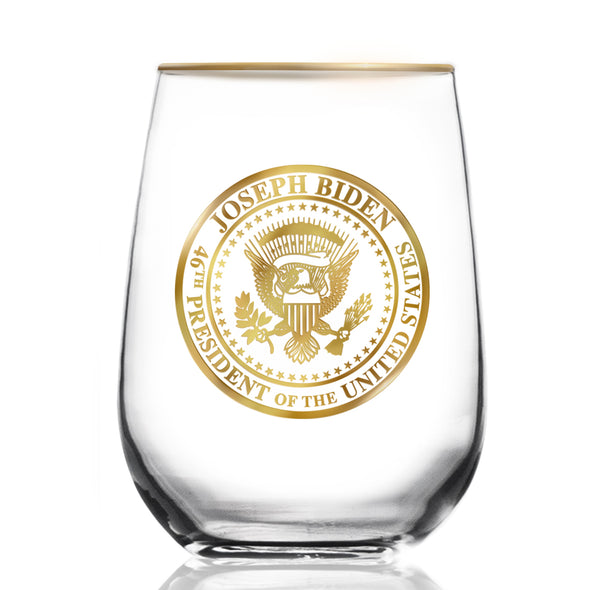 18KT Gold Commemorative Presidential Seal with Gold Halo Rim Wine Glass