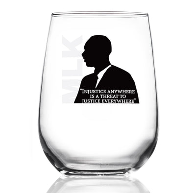 Injustice Anywhere Is a Threat to Justice Everywhere - MLK in Color - Wine Glass