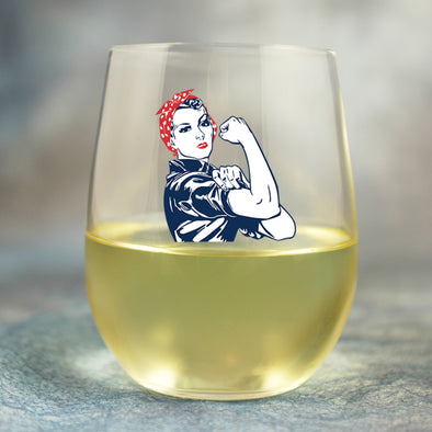 Rosie the Riveter - Wine Glass