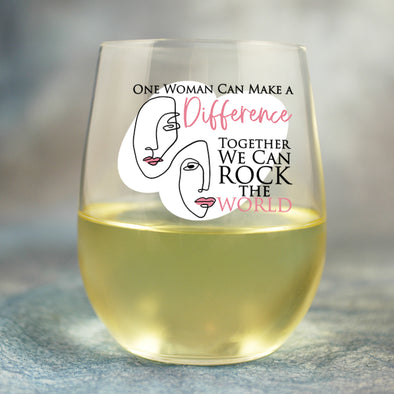 One Woman Can Make a Difference - Wine Glass