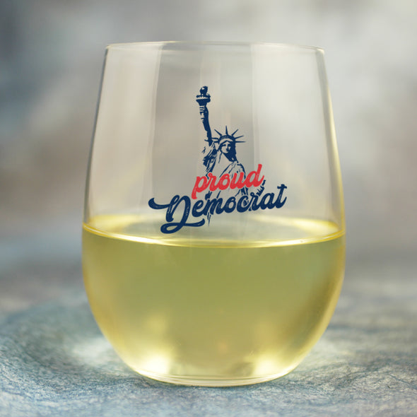 Proud Democrat Statue of Liberty - Wine Glass