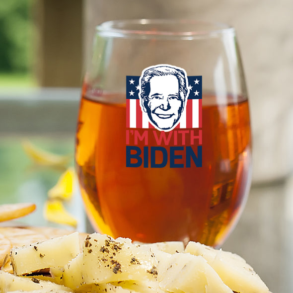 I'm with Biden Face - Wine Glass