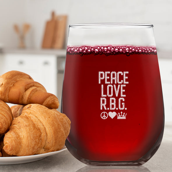 Peace Love RBG Stacked - Wine Glass