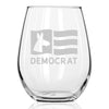 Democrat Flag - Wine Glass