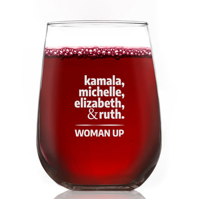 Kamala Michelle Elizabeth & Ruth - Wine Glass