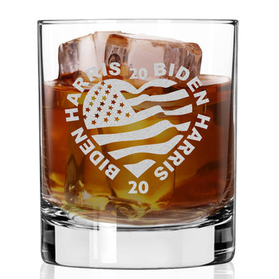 Biden Harris 2020 Heart - Whiskey Glass