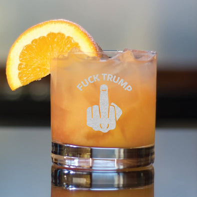 Fuck Trump - Middle Finger - Whiskey Glass