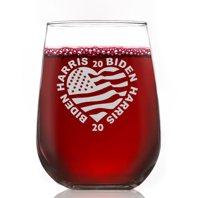 Biden Harris 2020 Heart - Wine Glass