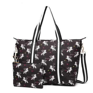 Matte Oilcloth Foldaway Overnight Bag - Unicorn Print in Black - Elsie & Evie
