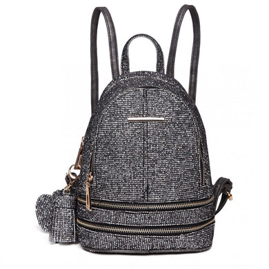 Glittering Fashion Small Backpack - Black - Elsie & Evie