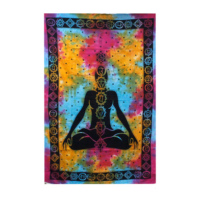 Single Cotton Bedspread/Wall Hanging - Chakra Buddha - Elsie & Evie