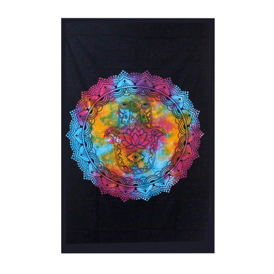 Single Cotton Bedspread/Wall Hanging - Black Hamsa - Elsie & Evie