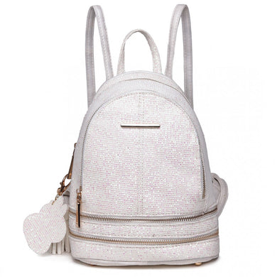Glittering Fashion Small Backpack - Beige - Elsie & Evie