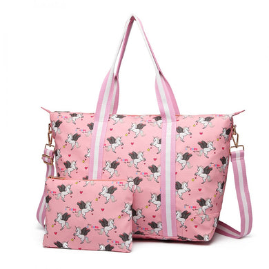 Matte Oilcloth Foldaway Overnight Bag - Unicorn Print in Pink - Elsie & Evie