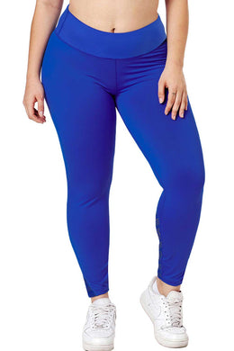 Royal Blue Heathered Splice Plus Size Yoga Pants - Elsie & Evie