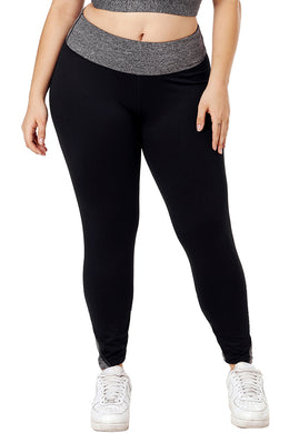 Black Heathered Splice Plus Size Yoga Pants - Elsie & Evie