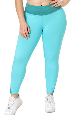 Sapphire Heathered Splice Plus Size Yoga Pants - Elsie & Evie