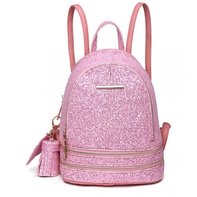 Glittering Fashion Small Backpack - Pink - Elsie & Evie