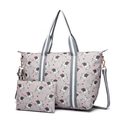 Matte Oilcloth Foldaway Overnight Bag - Unicorn Print in Grey - Elsie & Evie