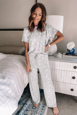 Grey Star Print Pyjama Set - Elsie & Evie