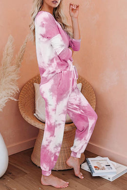Pink Tie Dye Knit Long Sleeve Loungewear Set - Elsie & Evie