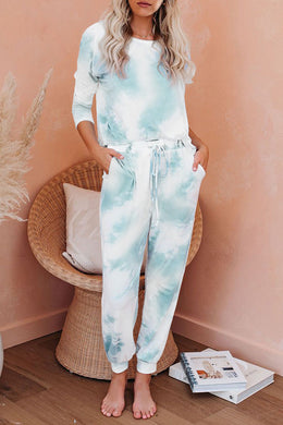 Mint Tie Dye Knit Long Sleeve Loungewear Set - Elsie & Evie