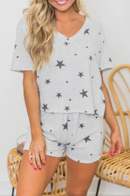 Grey Star Print Short Sleeve Pyjamas/Loungewear Set - Elsie & Evie