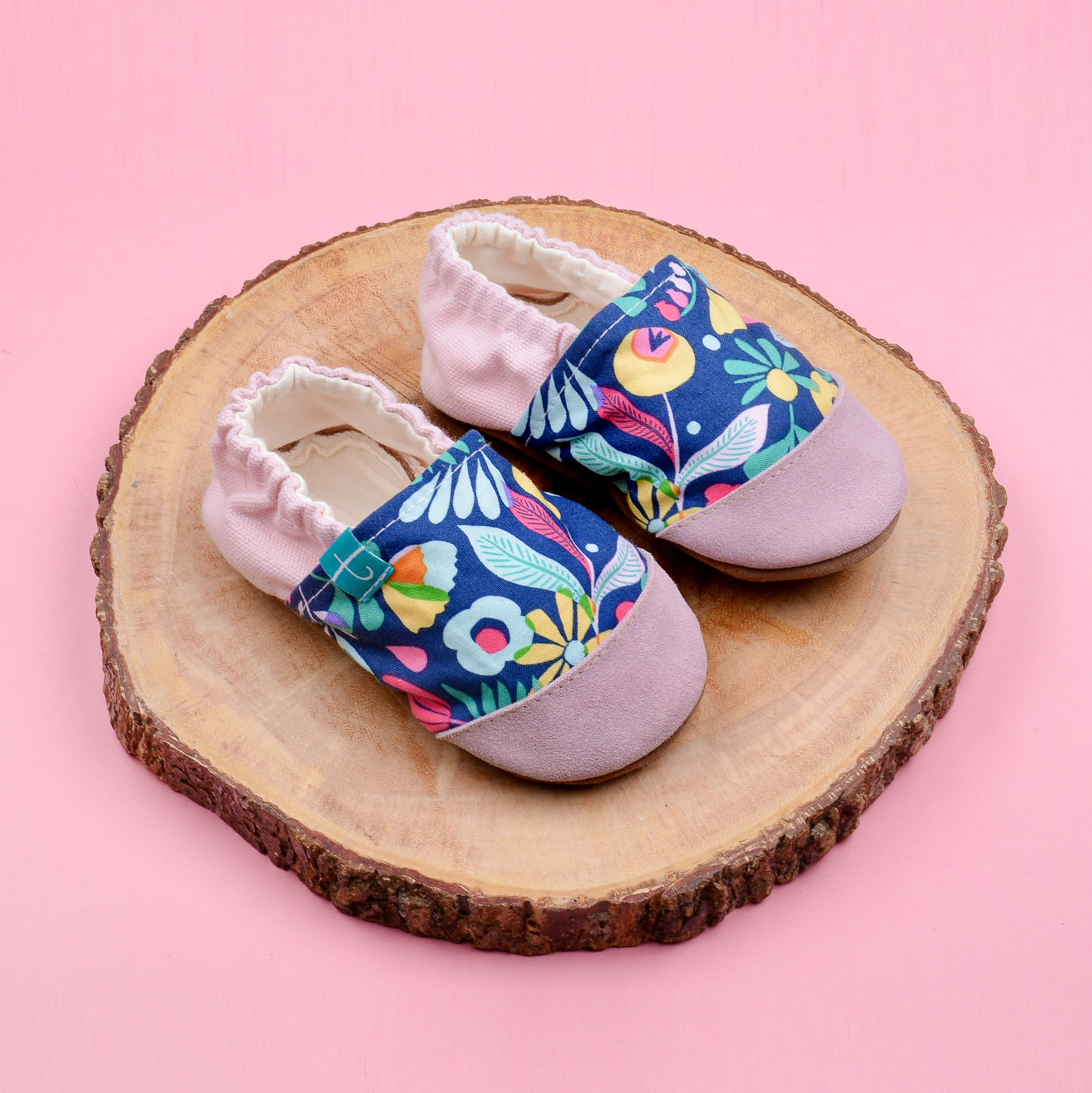 Pink Folk Child Slippers