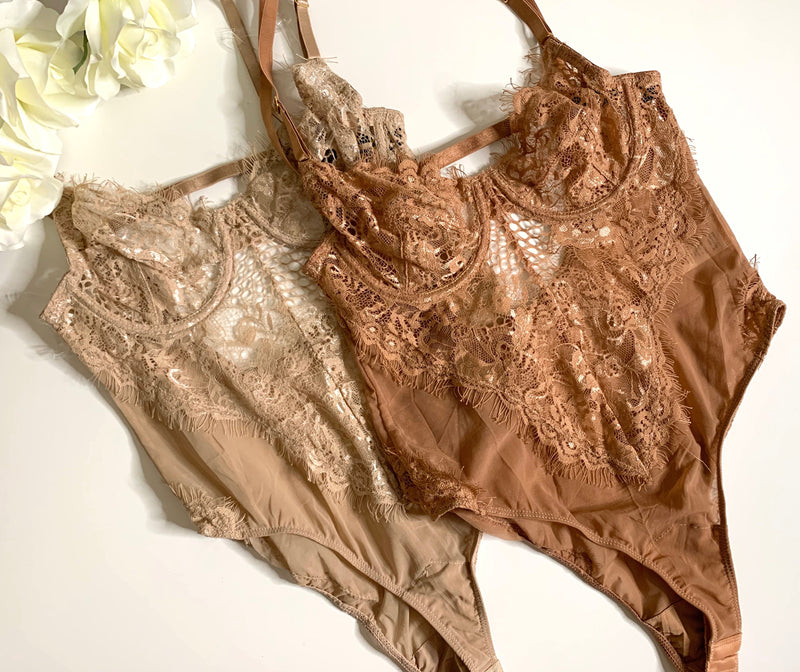 Please Me Bodysuit-Taupe