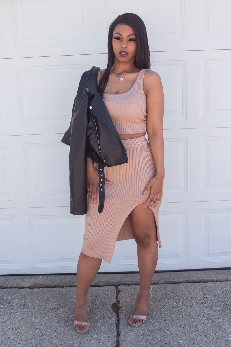 So Dope Two Piece Set-Taupe