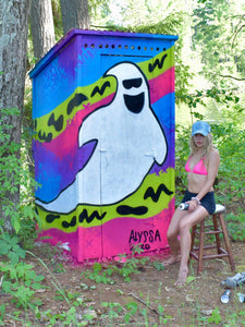 """Ghosty"" Out House Mural - Alyssa King Creative"