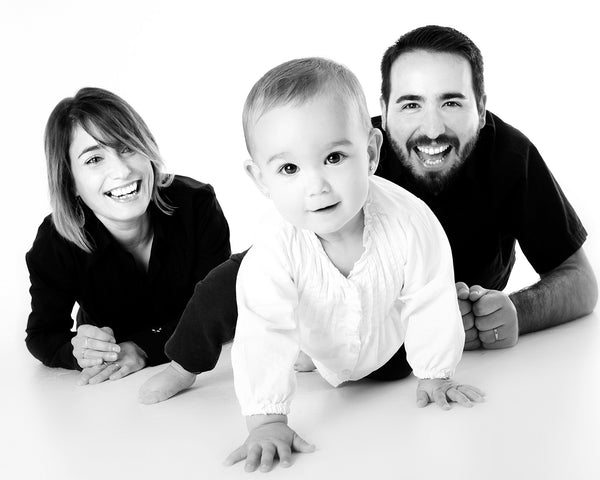 a family portrait as part of a baby naming ceremony from a celebrant