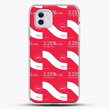 Load image into Gallery viewer, 325 Percent Milk Carton Print iPhone 11 Case, White Plastic Case | JoeYellow.com