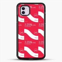 Load image into Gallery viewer, 325 Percent Milk Carton Print iPhone 11 Case, Black Rubber Case | JoeYellow.com