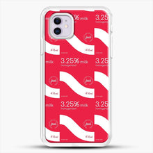 Load image into Gallery viewer, 325 Percent Milk Carton Print iPhone 11 Case, White Rubber Case | JoeYellow.com