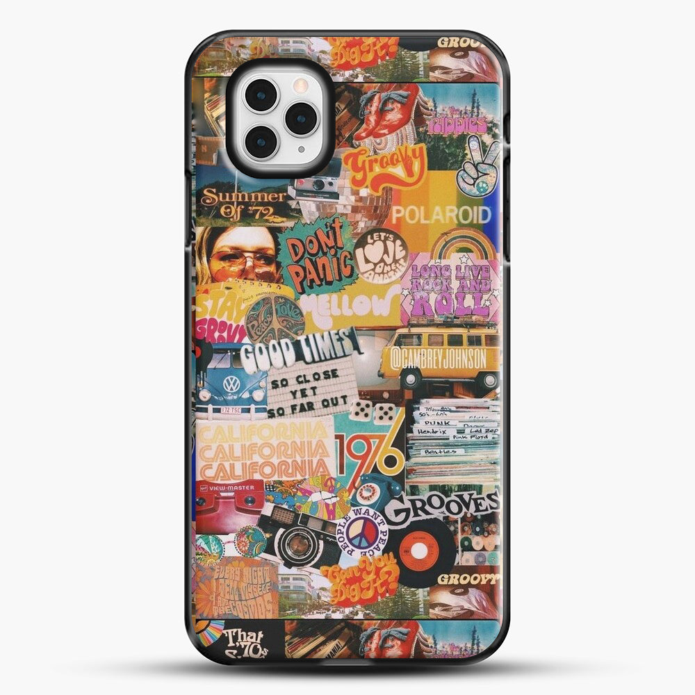 70S Vintage Vibe Collage iPhone 11 Pro Case, Black Plastic Case | JoeYellow.com