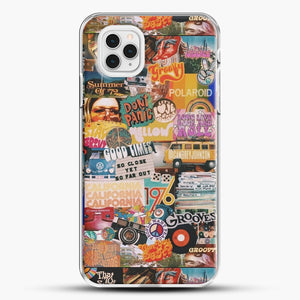 70S Vintage Vibe Collage iPhone 11 Pro Case, White Plastic Case | JoeYellow.com