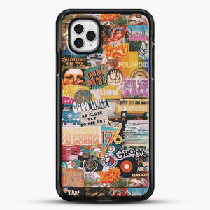 70S Vintage Vibe Collage iPhone 11 Pro Case, Black Rubber Case | JoeYellow.com