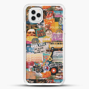 70S Vintage Vibe Collage iPhone 11 Pro Case, White Rubber Case | JoeYellow.com