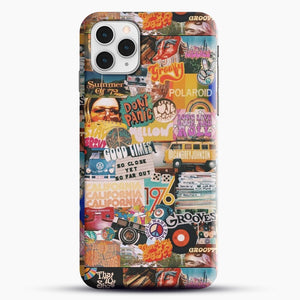 70S Vintage Vibe Collage iPhone 11 Pro Case, Black Snap 3D Case | JoeYellow.com