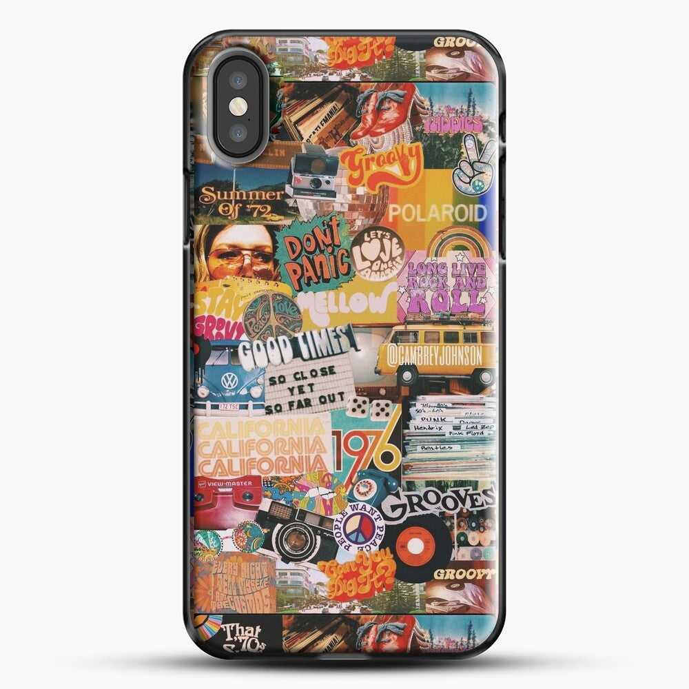 70S Vintage Vibe Collage iPhone X Case, Black Plastic Case | JoeYellow.com