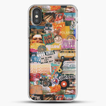 Load image into Gallery viewer, 70S Vintage Vibe Collage iPhone X Case, White Plastic Case | JoeYellow.com